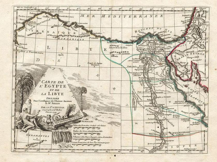 Карта Ливии и Египта, историческая