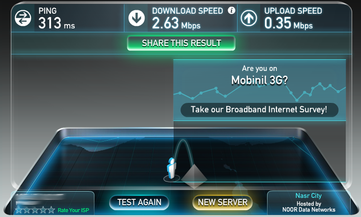Testing mobile Internet in Hurghada, Mobinil, second attempt